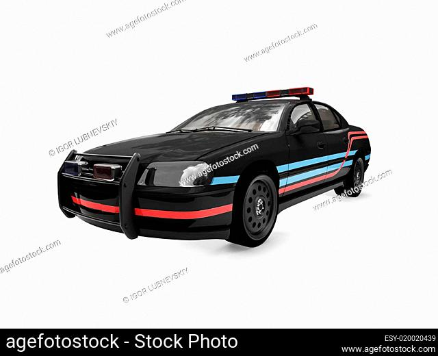Isolated black police car