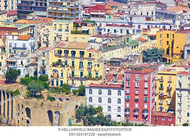 Naples cityscape from Castel Sant' Elmo, Vomero, Naples, Campania, Italy, Europe