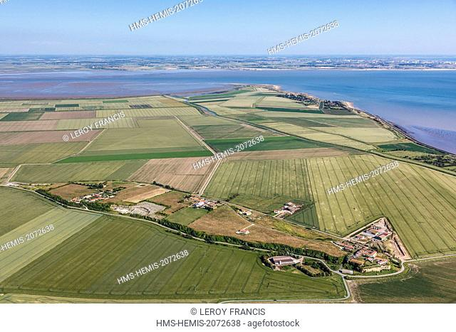 France, Vendee, Saint Michel en l'Herm, La Dive island (aerial view)