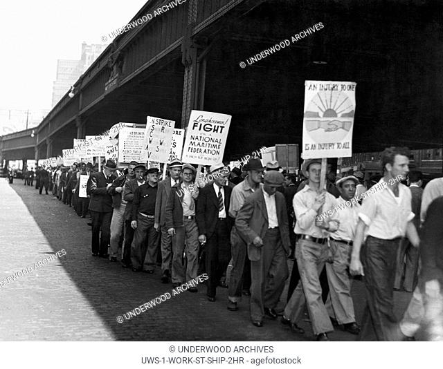 New York, New York: 1936 Maritime workers on the picket line during the seamen's waterfront strike