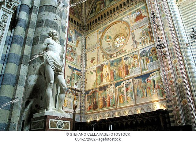 Interior view of the Duomo (cathedral) with frescoes by Fra Angelico. Orvieto. Umbria, Italy