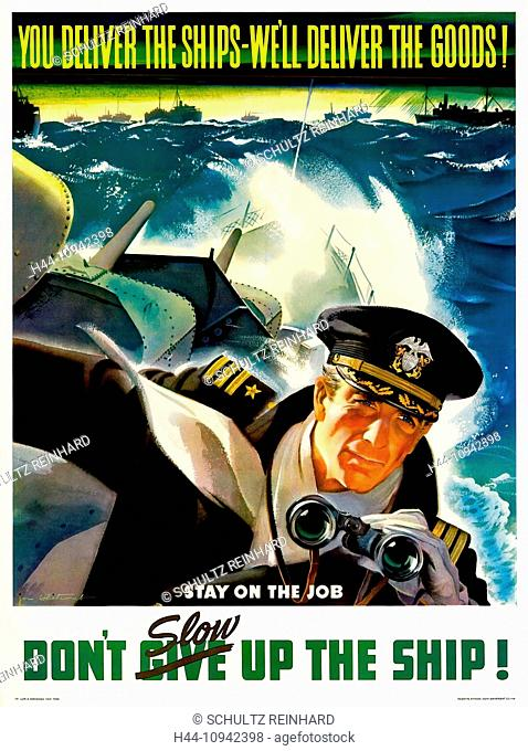 World War II, Second World War, world war, war, poster, Propagana, propaganda poster, USA, American, ship, battleship, soldier, binoculars, production, 1943