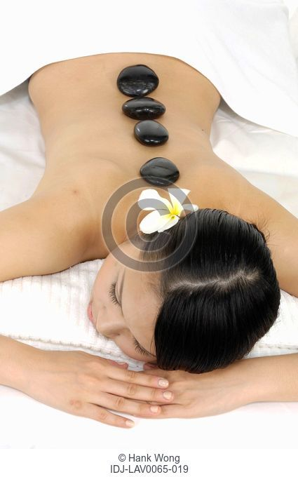 Woman getting lastone therapy