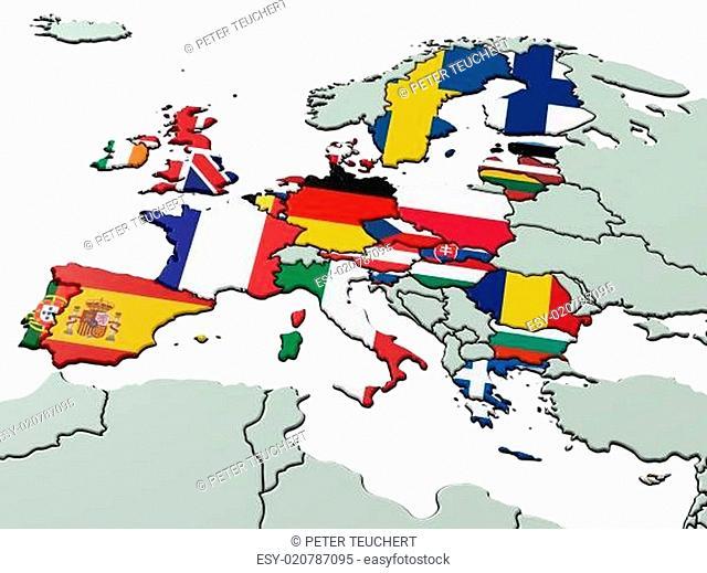 Europäische Union mit Landesflaggen 3