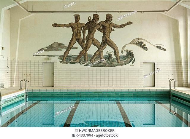 Swimming hall with a wall mosaic of the Aryan master race Herrenmensch, Ordensburg Vogelsang, 1936-1939 educational centre of the NSDAP, today Forum Vogelsang
