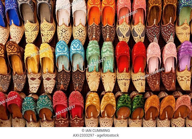 Traditional shoes for sale in market; Dubai, United Arab Emirates