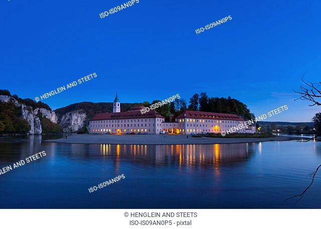Wellenberg Monastery at Danube river bend by night, Kehlheim, Bavaria, Germany