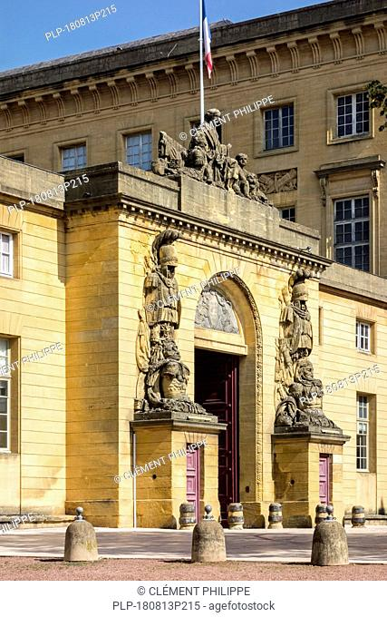 Entrance of the Cour d'appel de Metz / courthouse / palace of justice in the city Metz, Moselle, Lorraine, France