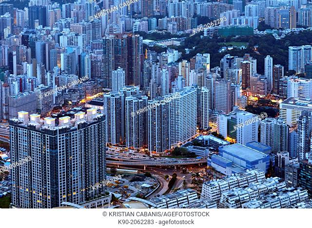 Aerial view of buildings, Kowloon, Hong Kong, China, East Asia