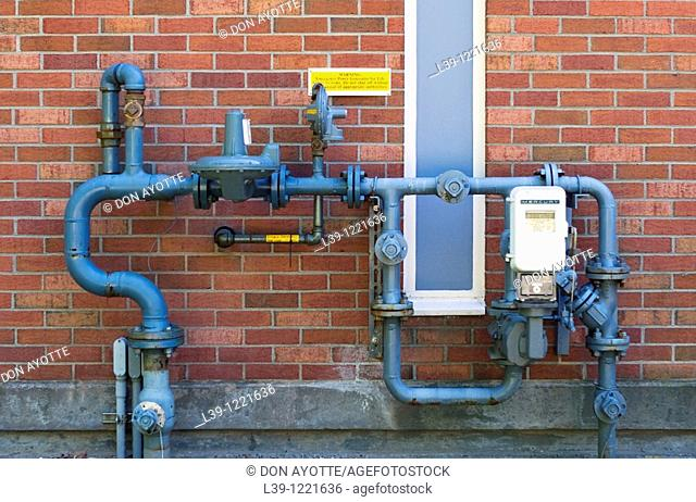 gas pipes on the campus of Mount Holyoke College in South Hadley, MA, USA