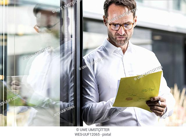 Businessman checking papers