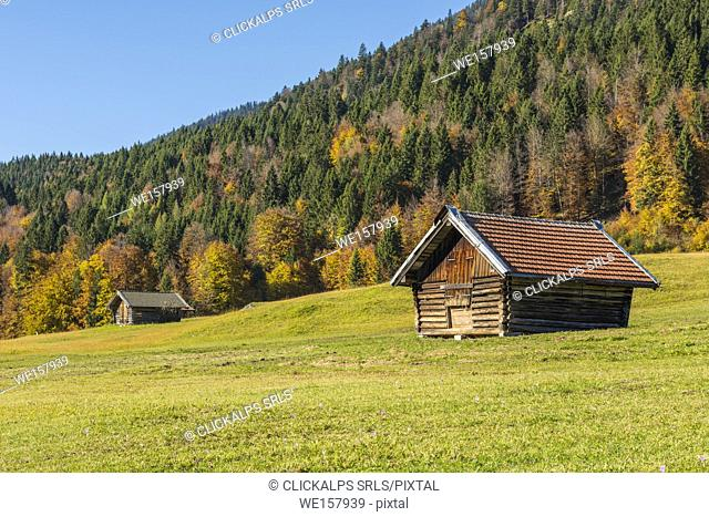 Gerold, Garmisch Partenkirchen, Bavaria, Germany, Europe. Autumn season in Gerold