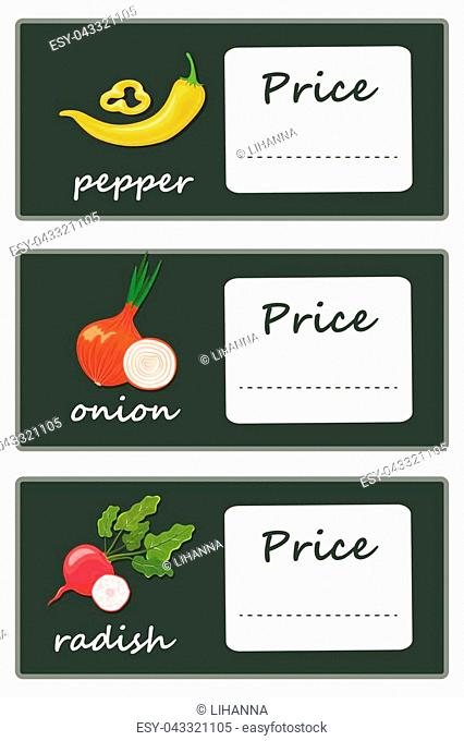 Labels with various vegetables and inscriptions. A set of price tag templates for shops and markets of organic vegetarian food
