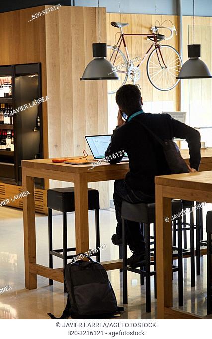 Executive working in a restaurant cafe, Ficoba, Irun, Gipuzkoa, Basque Country, Spain