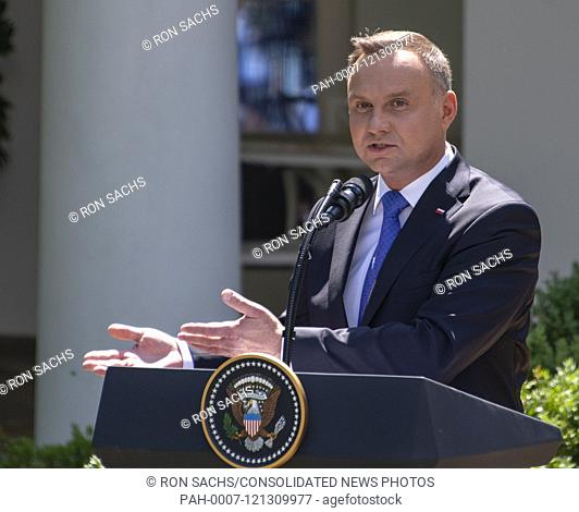 President Andrzej Duda of the Republic of Poland answers reporter's questions as he and United States President Donald J