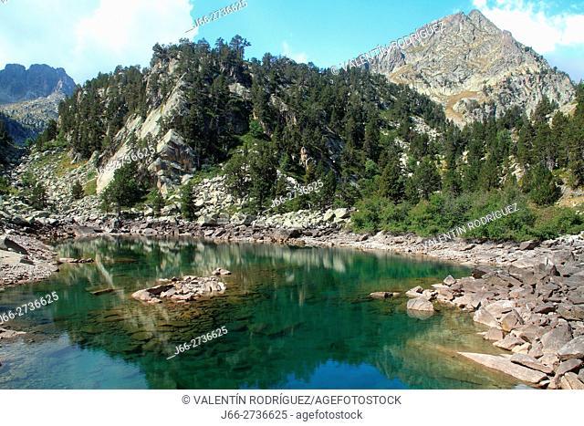 Small lake before ascending to lake Gerber. National Park Aigüestortes and lake San Mauricio. Lérida