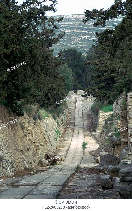 The 'Royal Road' leading to the Minoan palace at Knossos, called by Evans 'the oldest road in Europe', 15th century BC