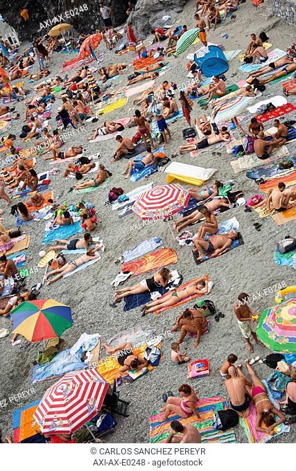 Beach In Monterosso Al Mare In Cinque Terra, Cinque Terra, Liguria, Italy