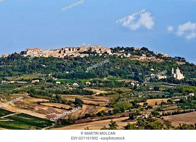 Montepulciano village landscape view before the sunset