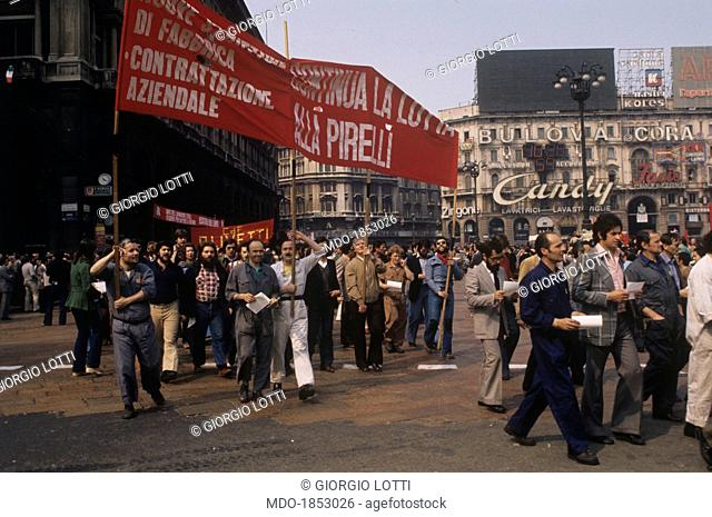 Many workers showing a banner in an anti-fascist demonstration in Milan. Milan, 22nd April 1975