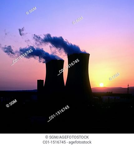 Nuclear power plant 'Cruas-Meysse' at sunset, Tricastin, Provence, France