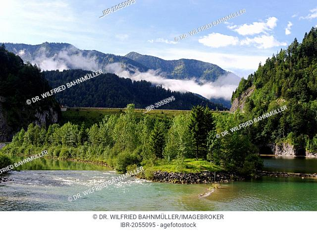 Isar River and Sylvenstein Dam, Toelzer Land, Isarwinkel, Upper Bavaria, Bavaria, Germany, Europe