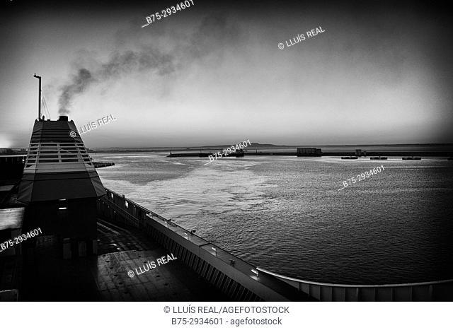 Port seen from the deck of a ferry boat. Mediterranean Coast, Palma, Majorca, Balearic Islands, Spain