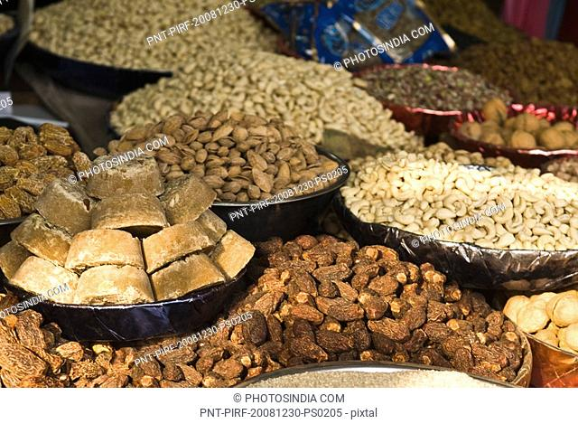 Close-up of dry fruits at a market stall, Delhi, India