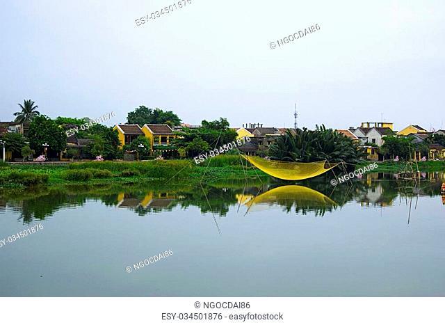 Fishing net on Hoai river, Hoi An, Quang Nam, Vietnam