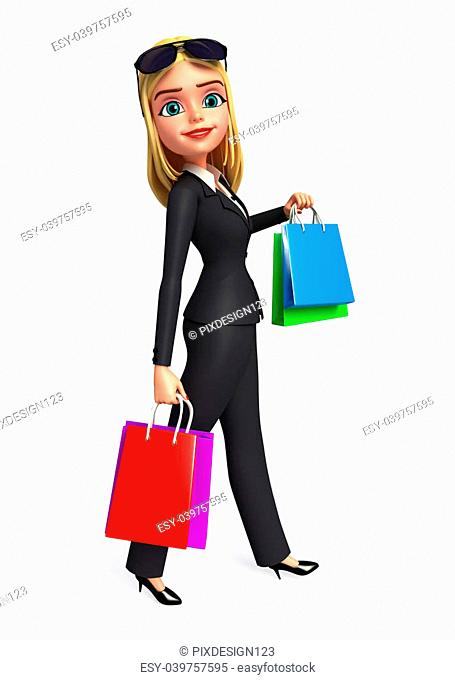 3d rendered illustration of Young Business Woman with bags