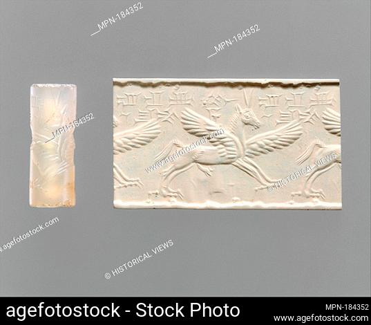 Cylinder seal and modern impression: winged horse with claws and horns. Period: Middle Assyrian; Date: ca. 14th-13th century B