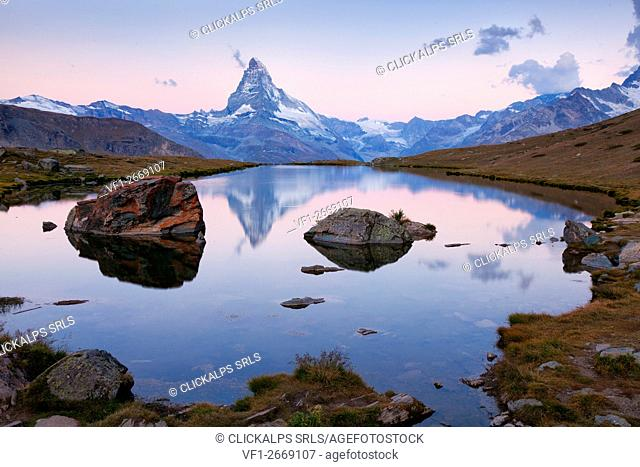 Stellisee, Zermatt, Switzerland. Matterhorn is reflected into the Stellisee lake