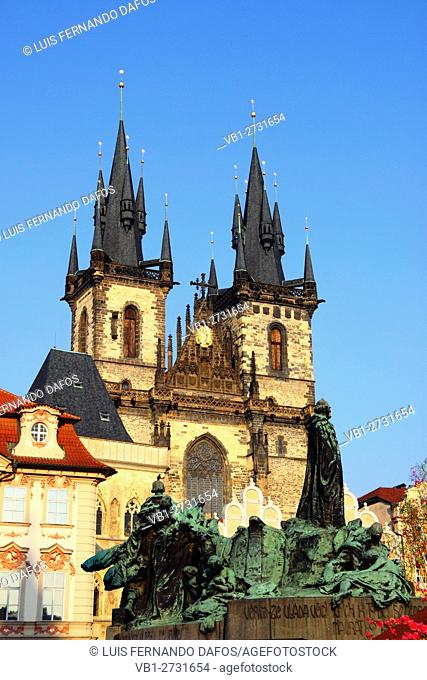 Tyn church, Jan Hus sculpture, Old Town Square, Prague, Czech Republic