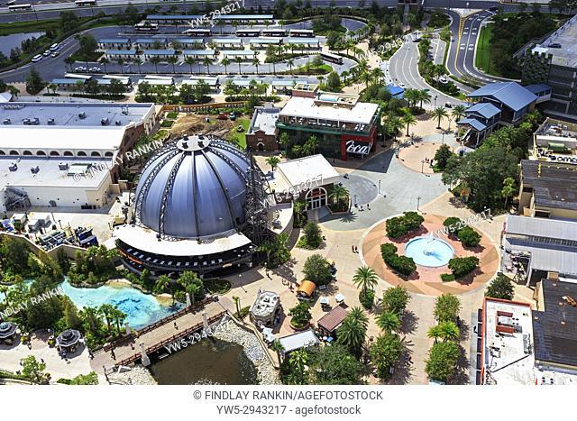 Aerial view of Disney Springs theme park, Orlando, Florida, USA