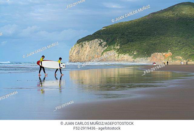 Surfing, Berria beach, Marismas de Santoña, Victoria y Joyel Natural Park, Santoña, Cantabrian Sea, Cantabria, Spain, Europe