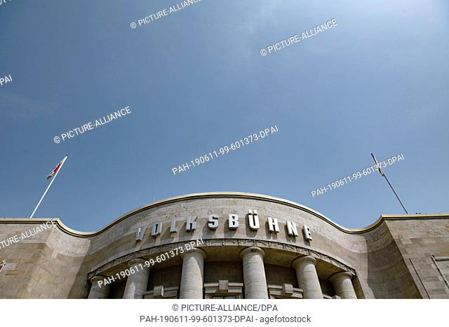 "11 June 2019, Berlin: """"Volksbühne"""" is above the entrance of the theatre. Berlin's Senator of Culture K. Lederer (left) wants to inform about the future of the..."