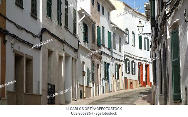 Street of Alaior, one of the small cities of Menorca, Balearic islands, Spain
