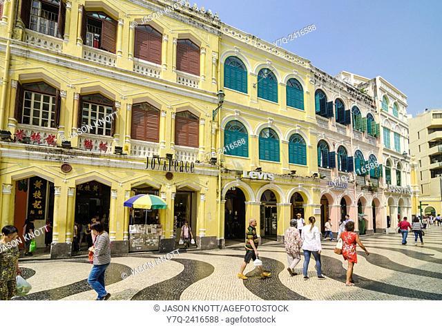 Shops in the historic buildings surrounding Senado Square, Macau, China