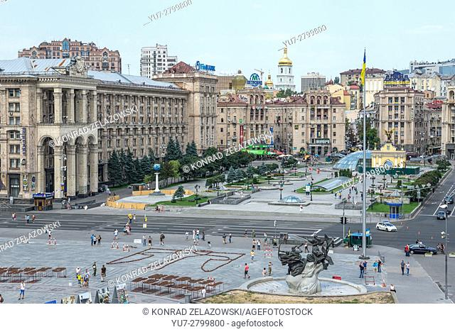 View on Maidan Nezalezhnosti (Independence Square) in Kiev, Ukraine. Central Post Office building on left