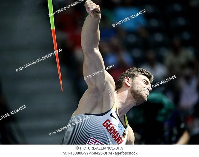 08.08.2018, Berlin: Athletics: European Championships in the Olympic Stadium: Javelin Throw Qualification, Men: Andreas Hofmann from Germany during his attempt