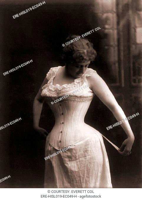 Women in a whale-boned corset, 1899