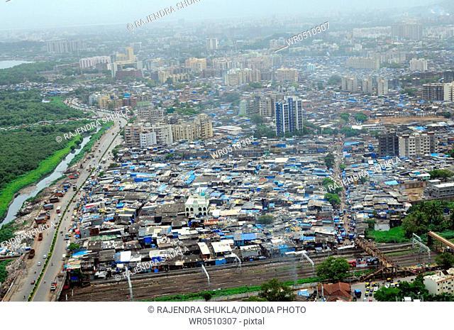 aerial view of dharavi slum , Bombay Mumbai , Maharashtra , India