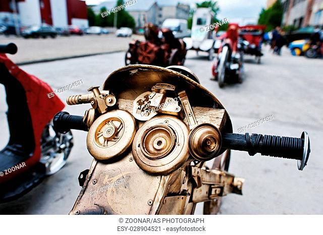 Podol, Ukraine - May 19, 2016: Handmade vintage retro classic motorcycle