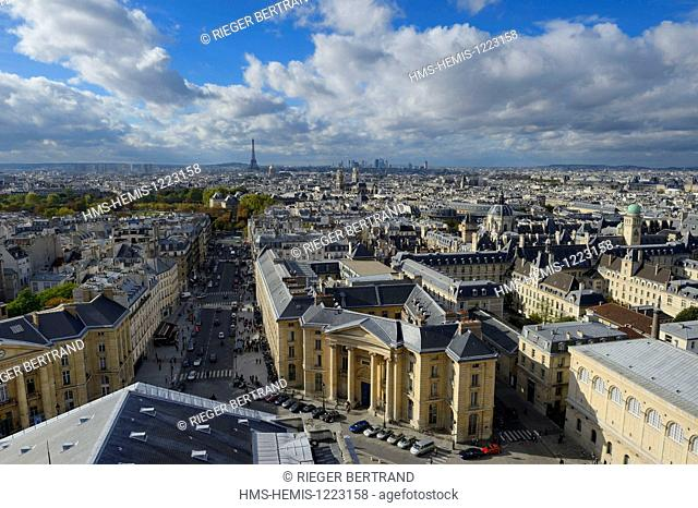 France, Paris, Latin Quarter, the Soufflot street, the town hall of the fifth arrondissement on the left and the entrance to the Faculty of Law on the right