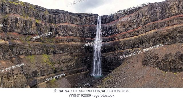 Hengifoss Waterfalls, Fljotsdalur valley, Eastern Iceland. This image is shot using a drone