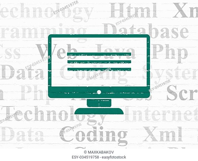 Programming concept: Painted green Monitor icon on White Brick wall background with Tag Cloud