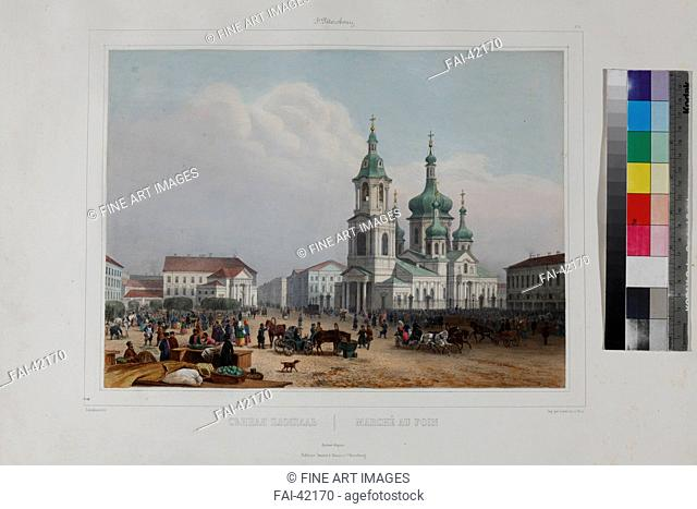 The Sennaya Square and the Saviour Church in Saint Petersburg by Arnout, Louis Jules (1814-1868)/Colour lithograph/Academic art/1840s/France/State Museum of A