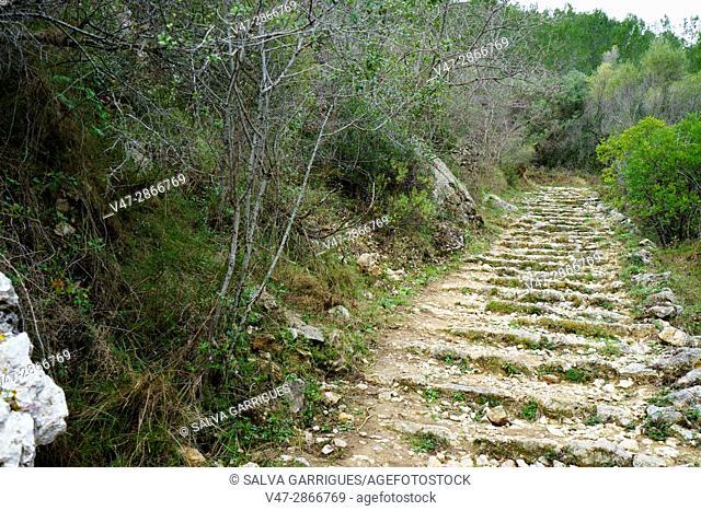 Mountain path in carboniferous limestone landscape, near Benimaurell, Vall de Laguar, Marina Alta, Alicante, Spain