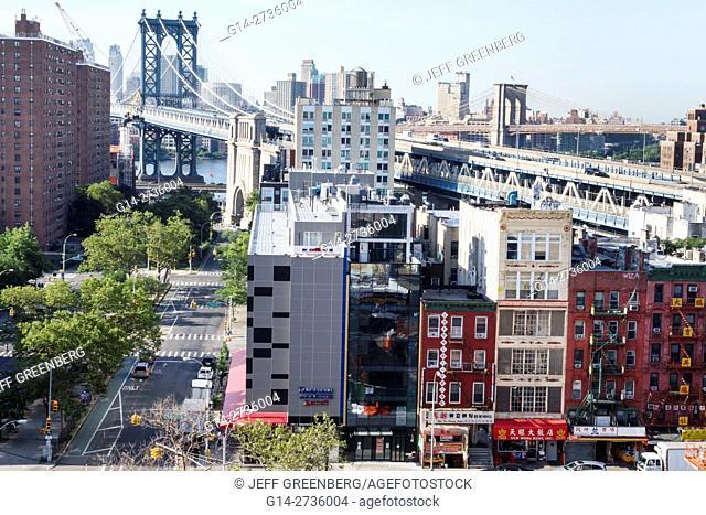 New York, New York City, NYC, Lower Manhattan, Chinatown, East Broadway, skyline, building, Manhattan Bridge, Brooklyn Bridge, overhead view, business, street