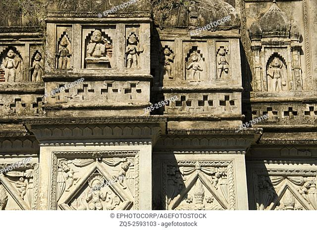 Figures on the wall of the temple. Chhatarpur District. Madhya Pradesh. India